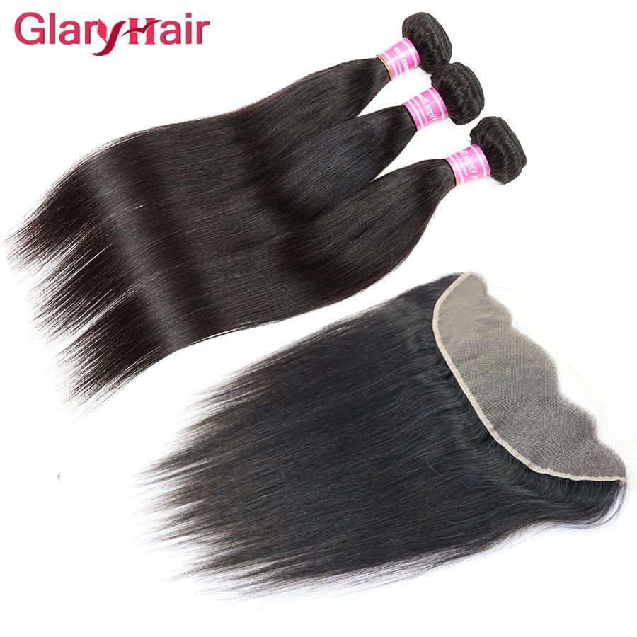 Лучшие продажи необработанные бразильские прямые девственные пучки волос с 13x4 кружева фронтальной закрытия Реми человеческих волос утки плетет закрытие оптом
