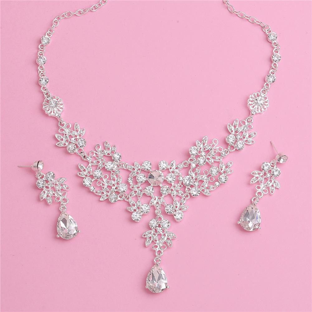 Wedding Jewelry Sets Crystal Rhinestone Necklace Earrings Tiara Set Bridal Wedding Prom Jewelry Accessories Pendant Necklace + Earrrings Set