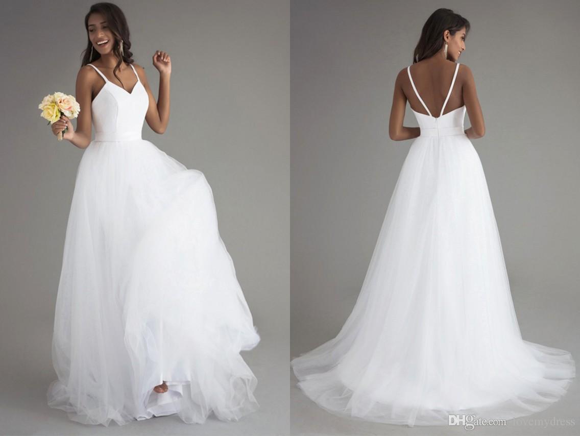 d2da4542f757a Under 100 Beach White Bohemian Wedding Dress 2018 Long Cheap Spaghetti  Straps Tulle Backless Lace Designer Wedding Bridal Gown Plus Size Wedding  Gowns Short ...