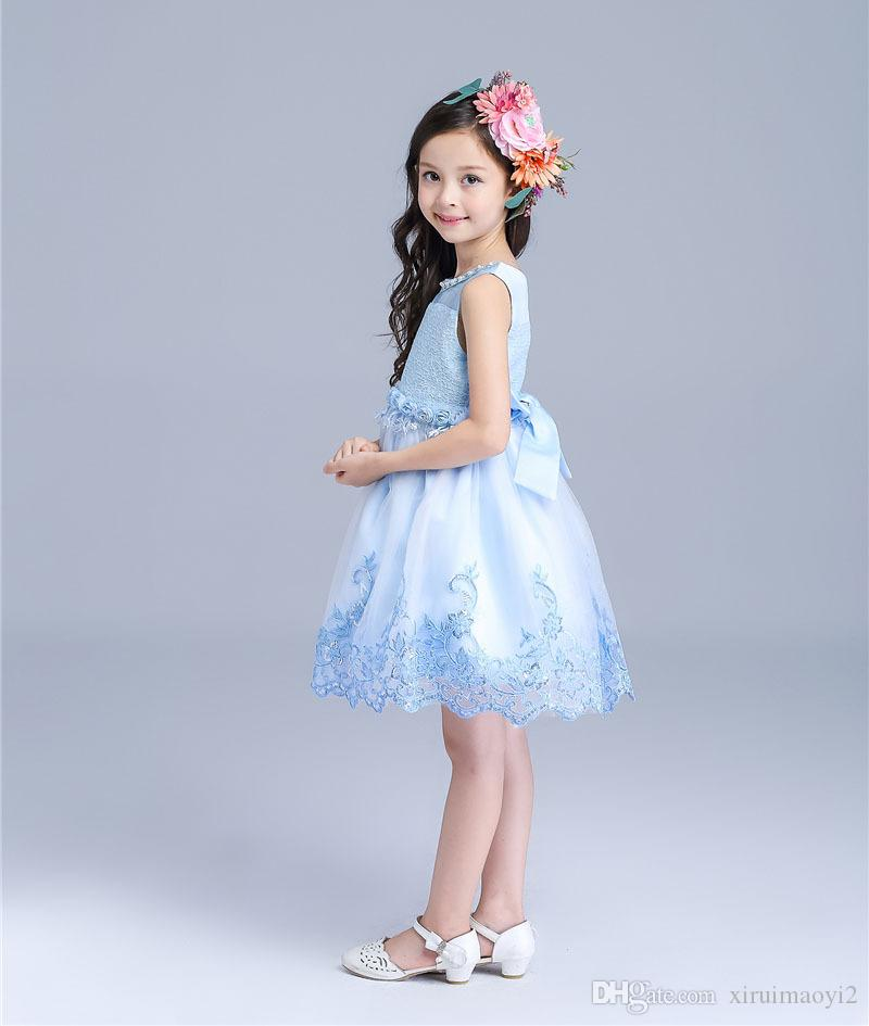 Wholesale Hot Sale Princess Wedding Dress Size For 3-12 Years Girl Party Dress 2015 Flower Girl Dresses Lace Embroidery Prom Gown Kids