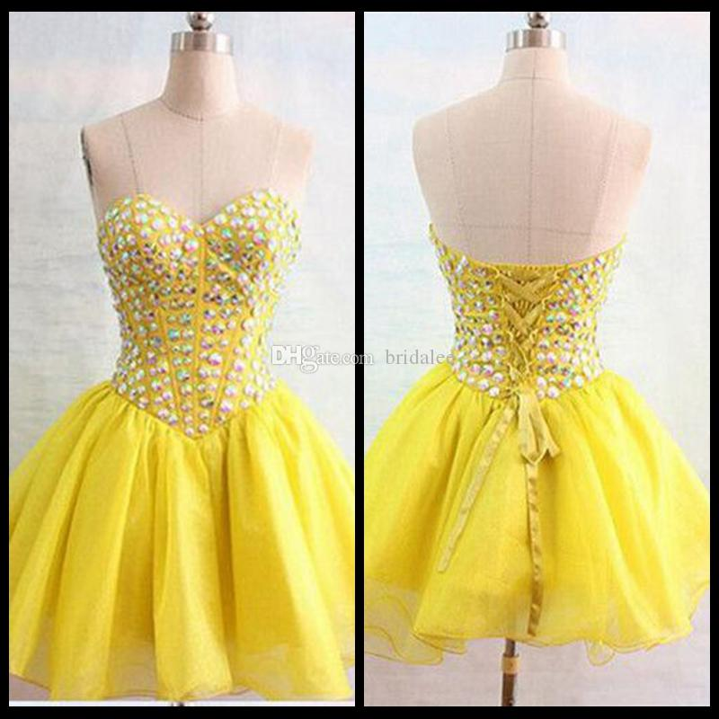 Yellow Mini Homecoming Short Prom Dresses Party Graduation Gown Cocktail With A Line Sweetheart Beading Crystal Corset Organza 2016 Cheap
