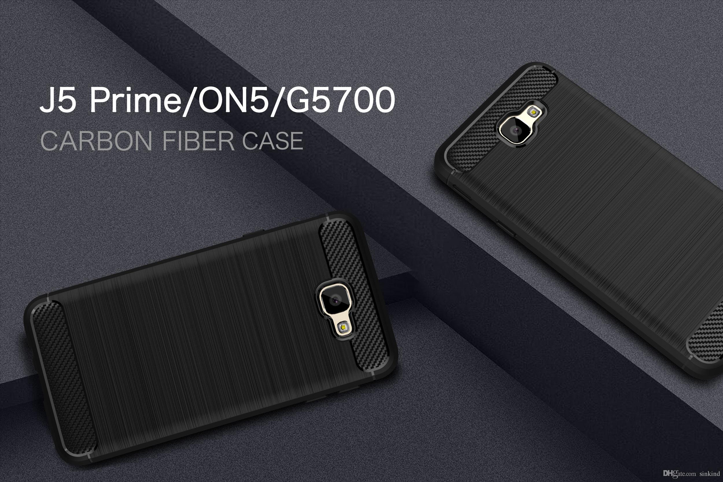 reputable site 9996b edd98 For Samsung Galaxy J5 prime / on5 Case Cover Shock-Proof Mobile Phone Bag  Carbon Fibre Brushed TPU Case for Galaxy J5prime G5700