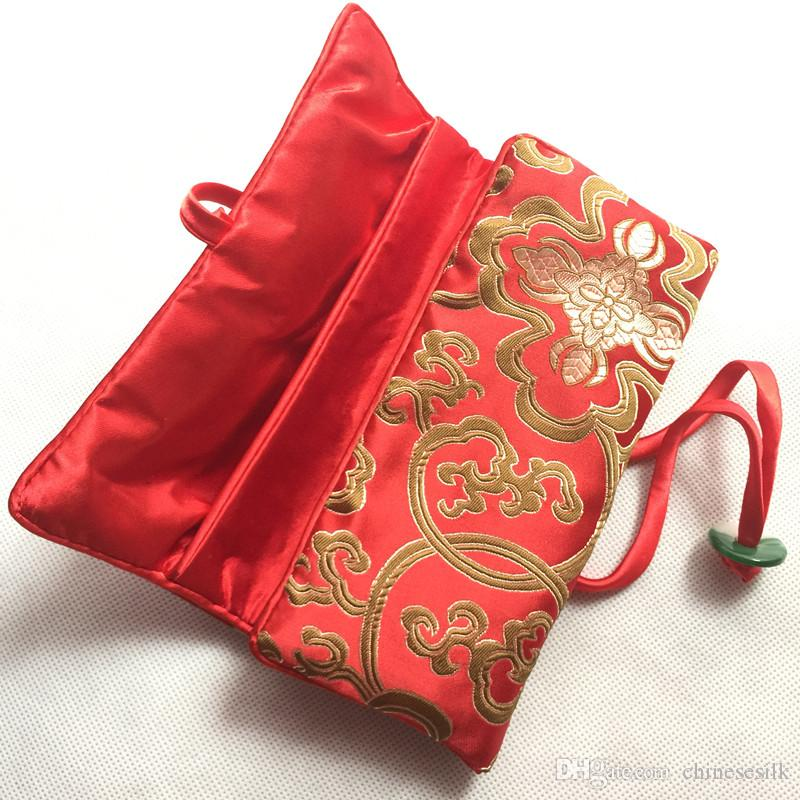 折りたたみ翡翠旅行ジュエリーロールアップバッグ中国のシルクブロコードポーチレディース化粧貯蔵袋巾着大きい化粧品袋ジッパー20個/ロット