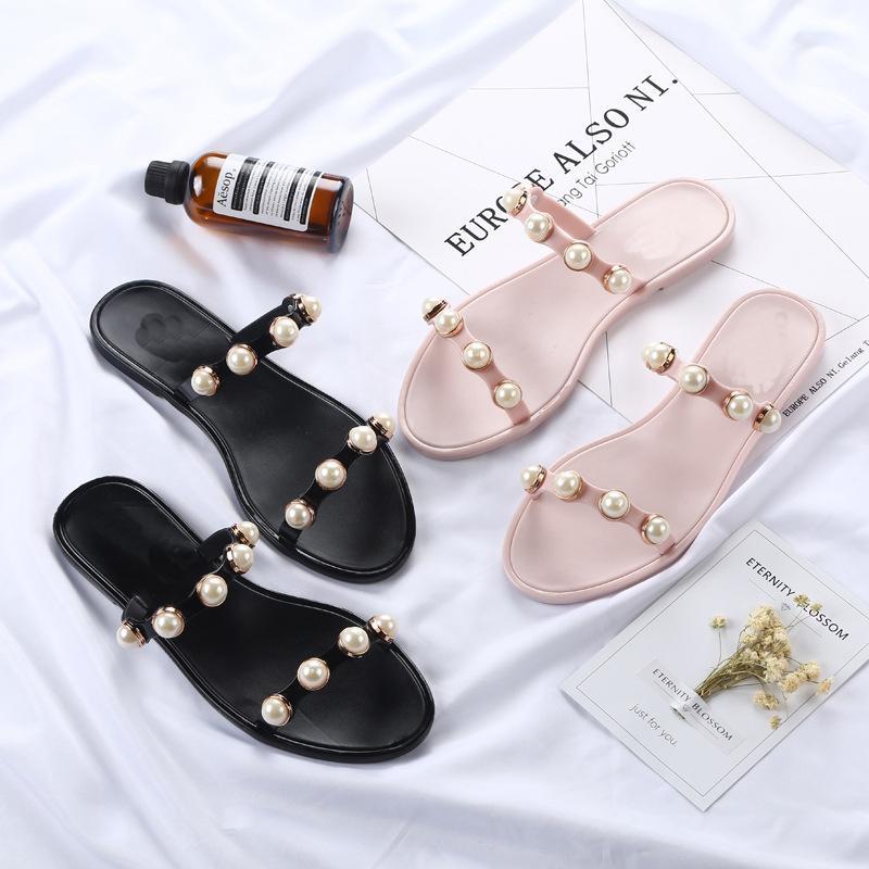 Women Summer Beach Slippers Women PVC Slippers Pearl Flat Flip Flops Sexy Platform Sandals Women's Non-slip Shoes