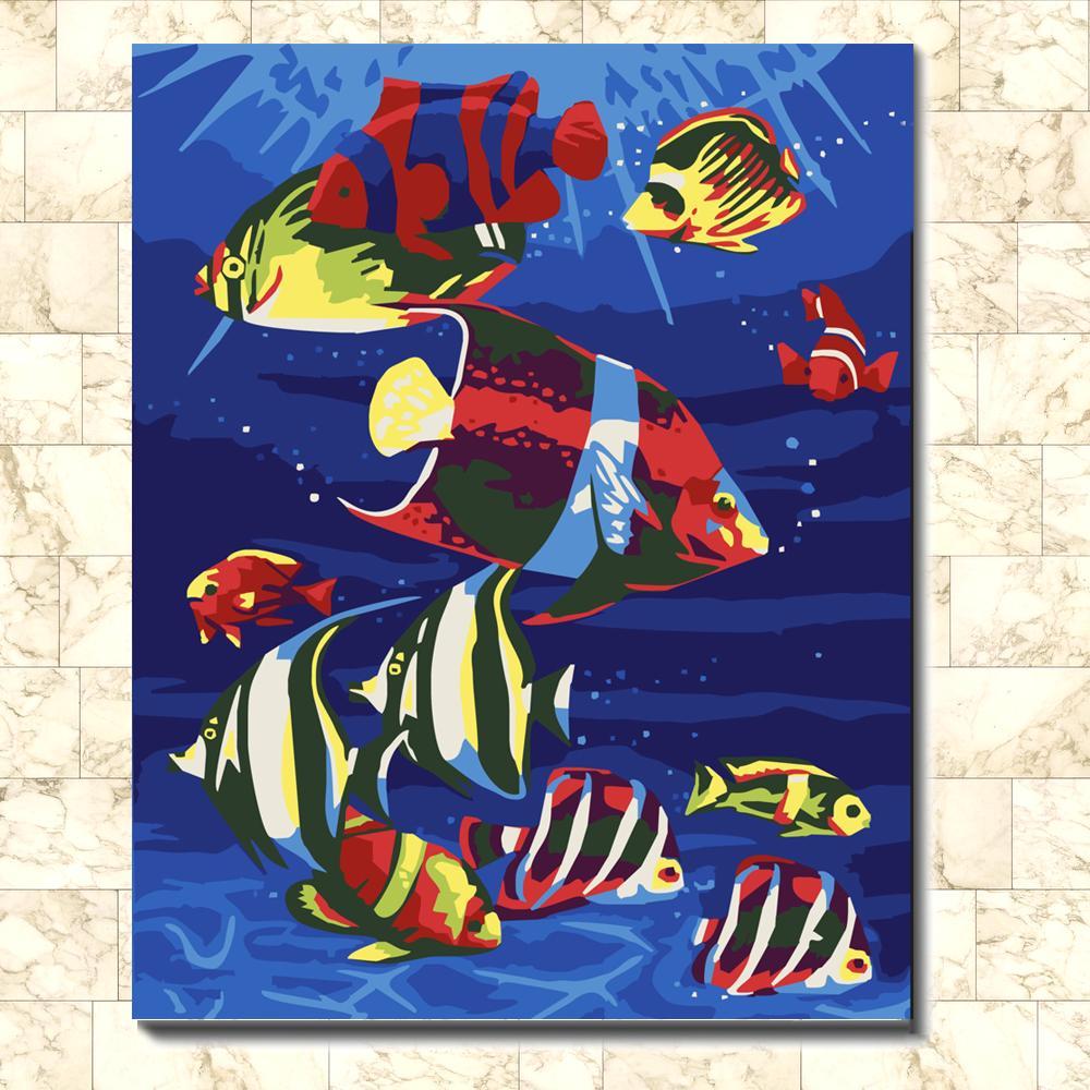 Vintage abstrait BEAU POISSON TROPICAL créatif affiches peinture photos imprimer sur la toile, Home Wall art décor peinture affiche