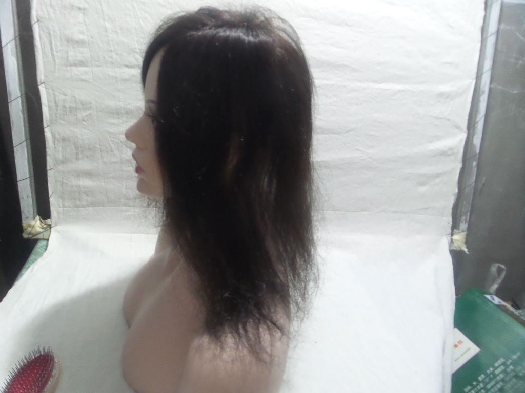 13.5 cm * 12 cm Liso # 2 Lleno de mi simulación Cuero cabelludo Pelucas llenas de encaje Densidad de punto 130% de peluca Virgen de cabello humano brasileño 100%