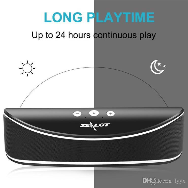 ZEALOT S2 Wireless Portable Speaker, Desktop Speaker with Enhanced Bass, Build in Microphone for Hands Free Phone Call, 3.5mm Audio-Black