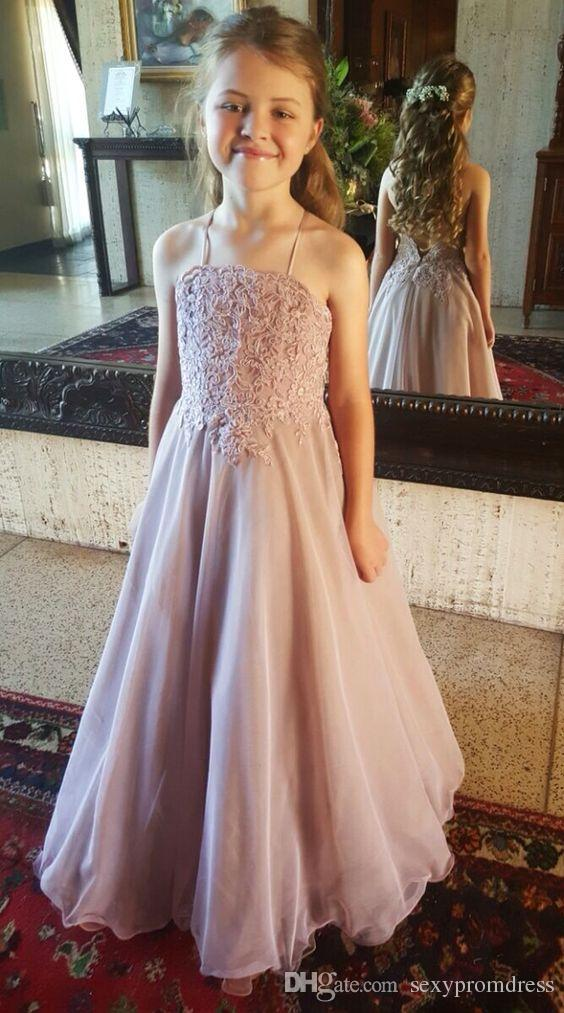 Dusty Pink Lace Flower Girl Dresses For Wedding 2016 Halter Backless Organza Floor Length Girls Pageant Gowns Kids Formal Party Dresses