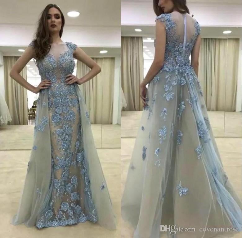 Modest Lace Capped Sleeve Mermaid Prom Dresses With Detachable Train Floral  Beads Long Evening Gowns Removable Skirt Party Gowns 2015 Dresses  Affordable ... a93f19c9c