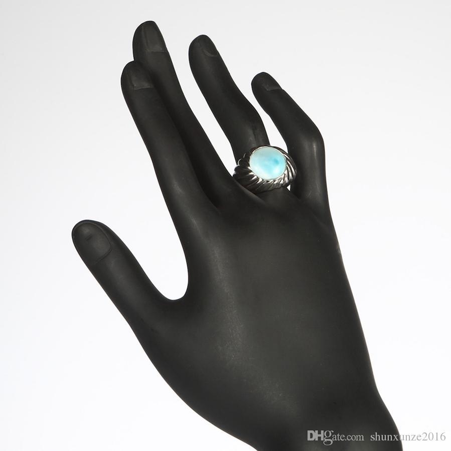 Larimar und weißer Zirkonia 925 Sterling Silber Schmuck Ring SS - 3802 Größe # 6 7 8 9 Neues Muster Rave Bewertungen Weihnachtsgeschenk Trendy
