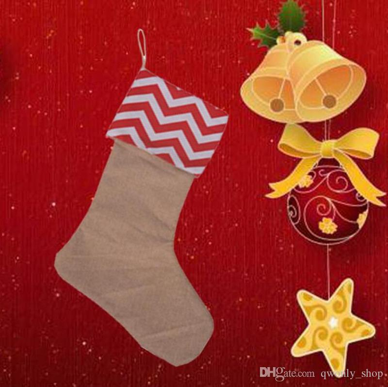 2017 Canvas Christmas Stocking Gift Bag Xmas Stocking Christmas Tree Decoration Socks Xmas Stockings 9Styles 12*18inch