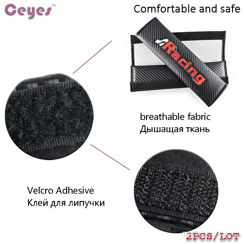 Carbon Fiber Shoulder Pads Seat Belt Cover for Seat R Racing leon ibiza altea alhambra Safety Belt Cover Car Styling