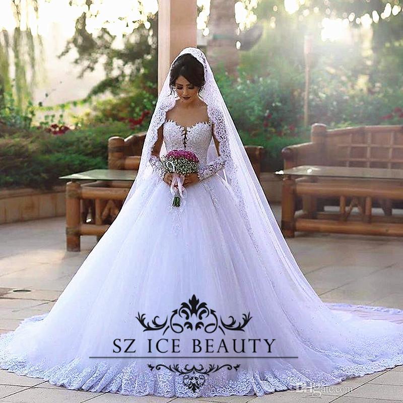 Plus Size Second Wedding Dresses: Discount Dubai Arabic Design Chapel Train Long Sleeves