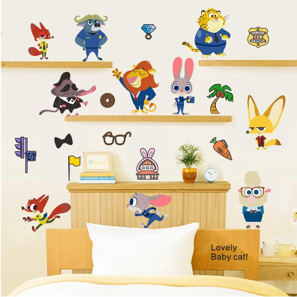 Cartoon Movie Zootopia Wall Stickers Nick Fox Judy Rabbit Home Decor ...
