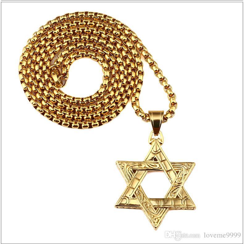Moda hip hop mens de alta qualidade 24k banhado a ouro de aço inoxidável mens judaísmo hexagrama pingentes colares conjunto de jóias