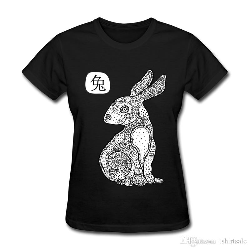 On sale Art animal printing woman T-shirt self made unique style girl round collar shirt cotton cloth Cartoon rabbit
