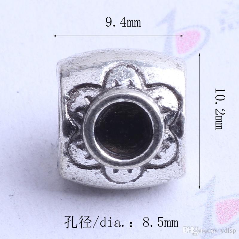 Oval Pandora suelta Bead Plum Blossom charm plata antigua / bronce encantos de la aleación de zinc perlas europeas Fit Pandora pulseras 2408