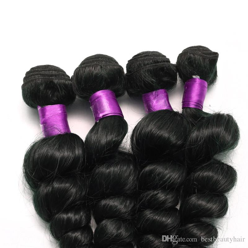 ブラジルペルーマレーシアのインドの緩い波の人間の髪の自然な黒いブラジルの緩い波の人間の髪の伸びのブラジルの髪緯糸