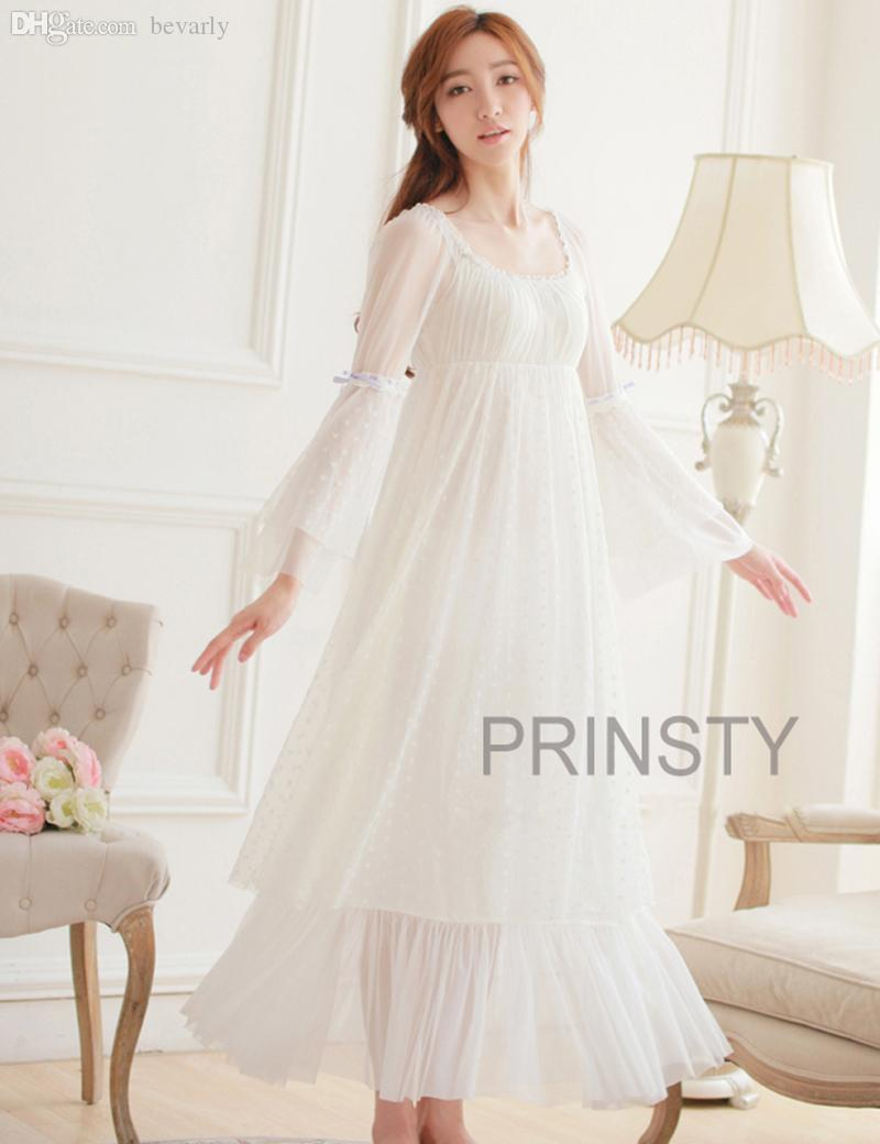 2019 Wholesale 100% Cotton Princess Nightdress Women S Long Nightgowns  White Lace Sleepwear PR15020 From Bevarly 75d04d109