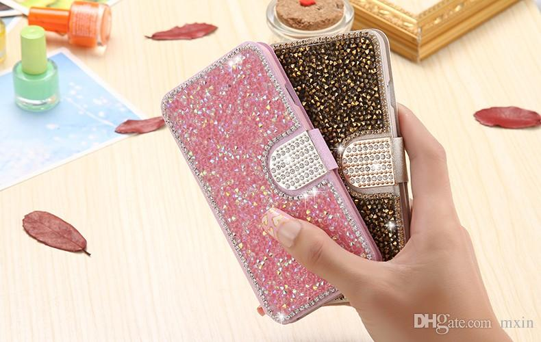 Luxury Full Body Bling Diamond Silk Pattern Flip Leather Wallet Stand Case For iPhone 5 5S 6 6S Plus Samsung Galaxy S4 S5 S6 S7 Edge