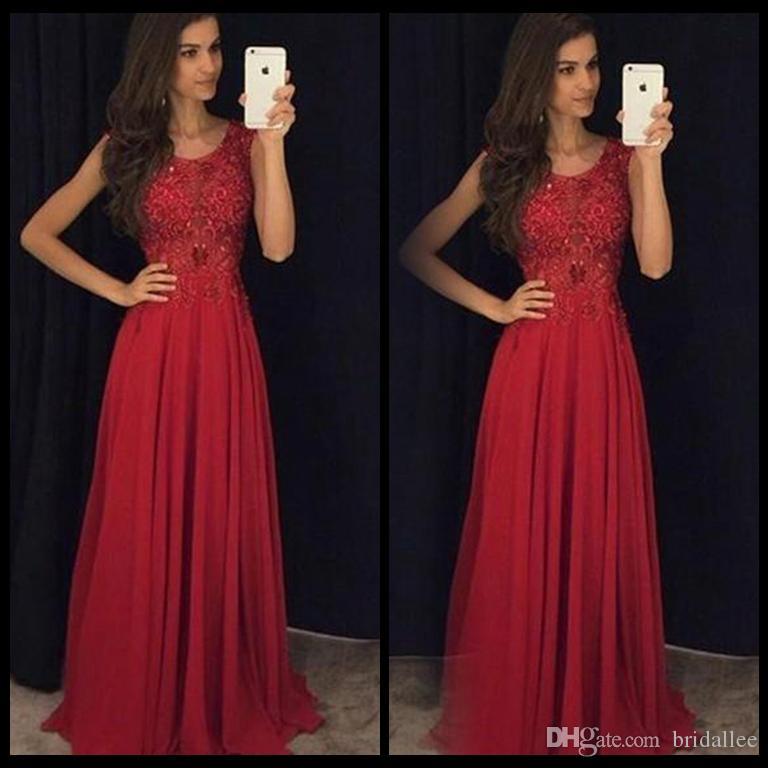 Semplici abiti da ballo rossi gioiello collo maniche maniche pizzo appliquato chiffon su misura indietro cerniera corsetto abiti da sera abiti da cerimonia