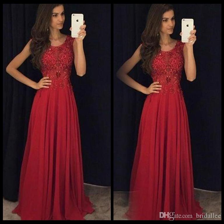 Simple Red Prom Dresses Jewel Neck Cap Sleeves Lace Appliqued Chiffon Custom Made Back Zipper Corset Evening Gowns Formal Dresses