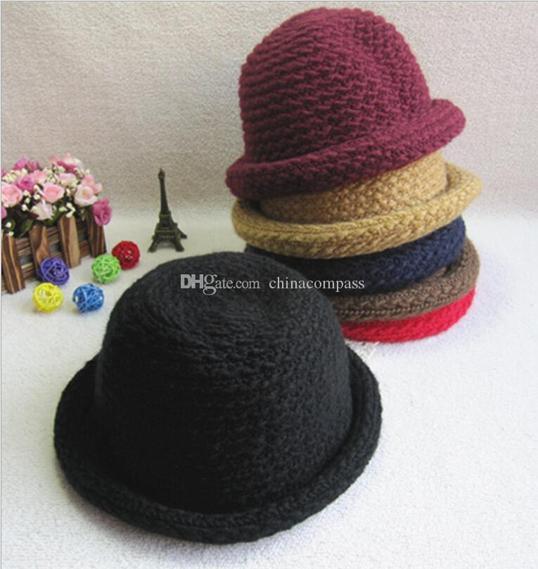 3a1515a4f74 New wave of casual knit cap children autumn and winter mohair curling bucket  hats girls hat ...