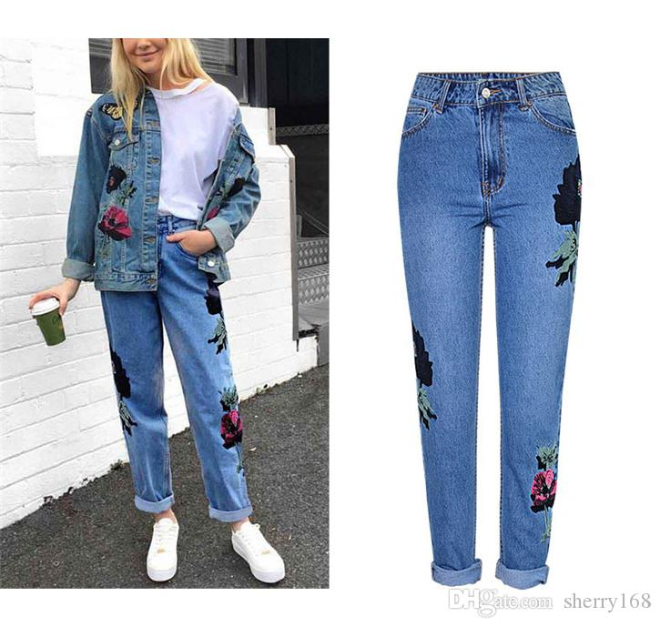 bbb79c90dc4 Fashion Casual Jeans New Arrival 3D Stereo Flowers Embroidered Jeans Women  Denim Pants High Waist Loose Straight Washed Vintage Denim Pants Women High  Waist ...