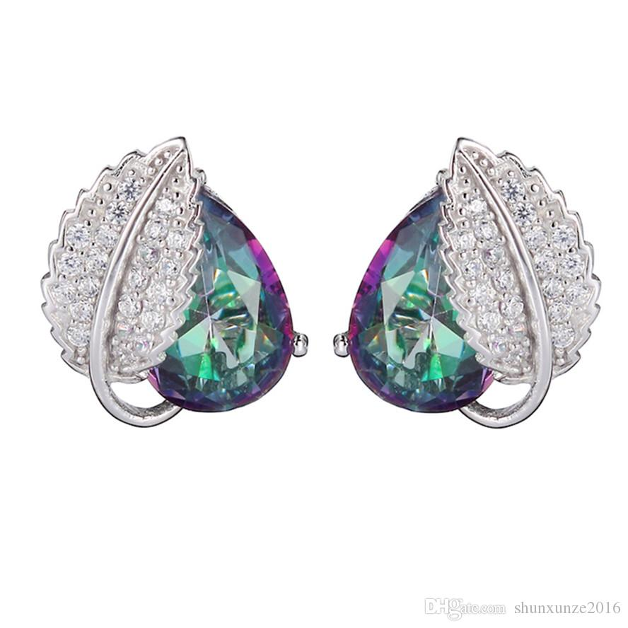 925 Sterling Silber Lieblings Ohrringe Förderung S-3729 Regenbogen Feuer Mystic Zirkonia Bestseller Zeitlich begrenzte Rabatt Weihnachtsgeschenk