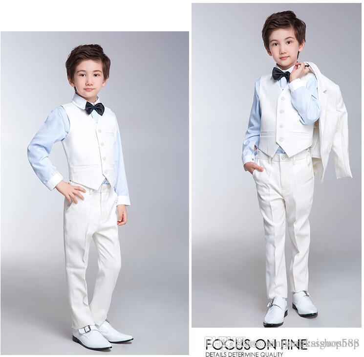 De alta calidad personalizado contratado traje de niño de moda blanco puro cultivar su moralidad clásico traje de niño chaqueta + pantalones + chaleco