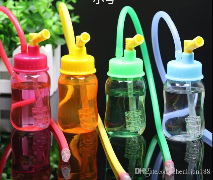 Transparente pequena garrafa Acrílico cachimbo de água, cor, estilo de entrega aleatória, canos de água, bongos de vidro, vidro Hookahs, cachimbo