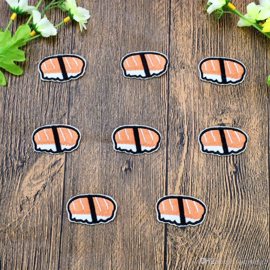 salmon sushi embroidery patches for clothing iron-on patch applique iron on fashion patch sewing accessories badge stickers on clothes