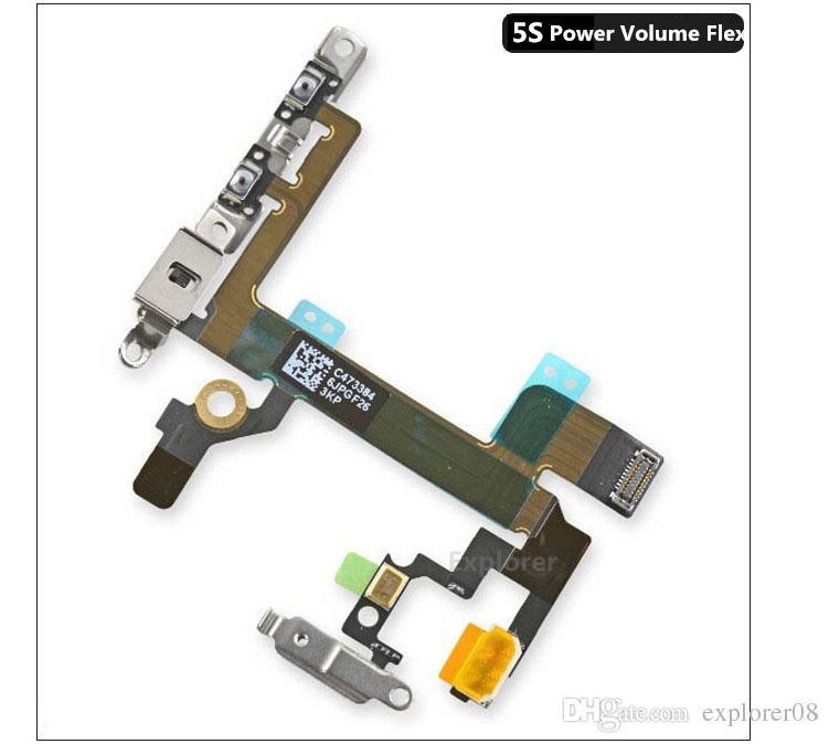 IPhone 4 için orijinal 5 5G 5 S 5C 6 artı Güç Düğmesi Anahtarı Uyku Wake Hacim Dilsiz Düğme Flex Kablo + Metal Parantez Değiştirme