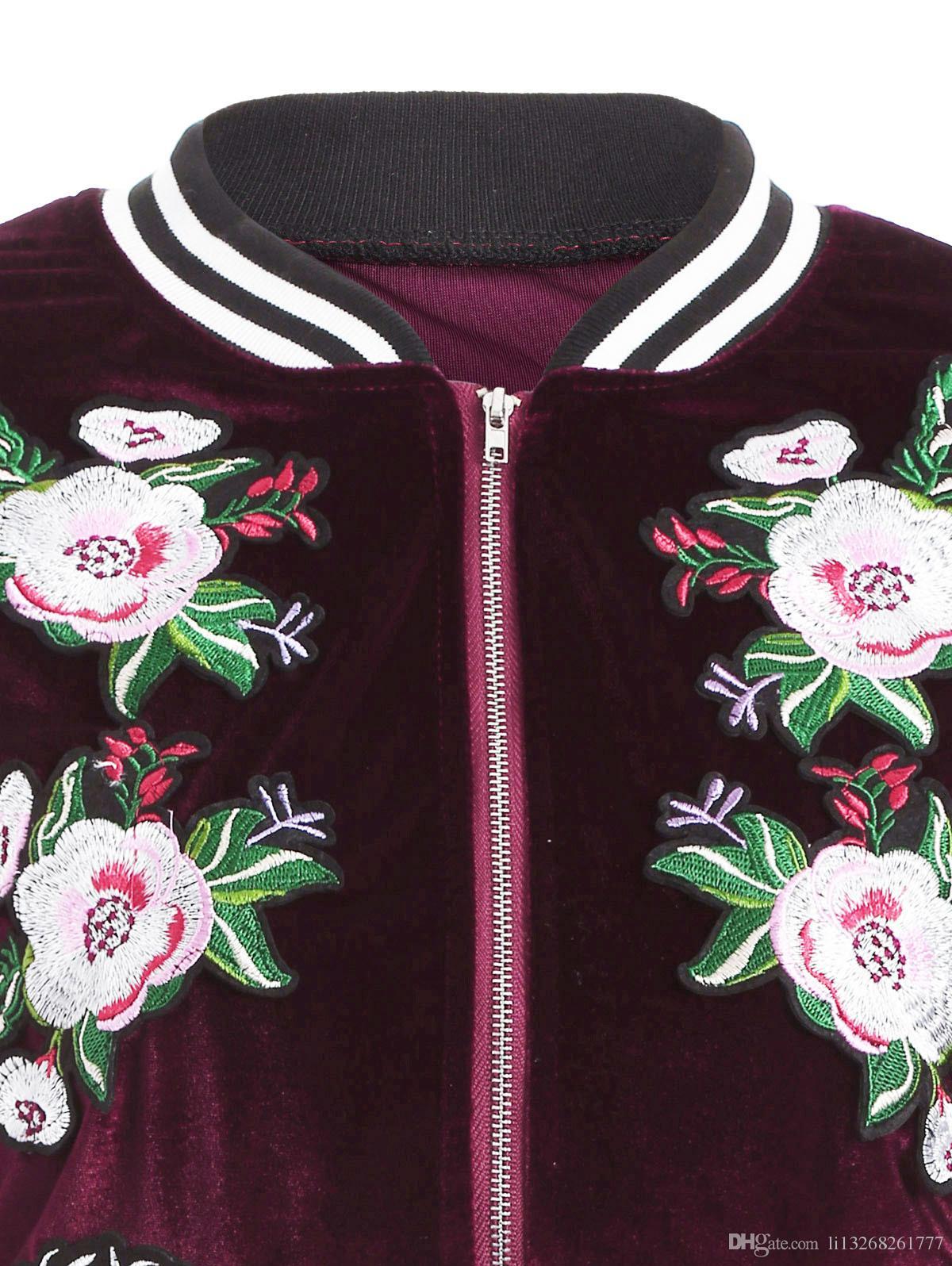 Women's Clothing Women tiger rose flowers embroidery Decals velvet tops short jacket Women's Outerwear & Coats