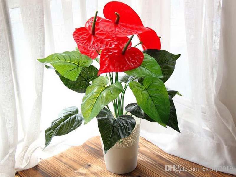 Grande 18 teste fiore artificiale piccolo vestito di seta pianta in vaso grande in vaso anturio ufficio casa decorazione del giardino bonsai all'ingrosso