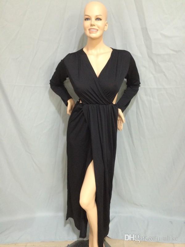 Büyük boy elbise saf seksi Se derin uyluk bölünmüş uzun kollu elbise etek seksi gece kulübü elbise