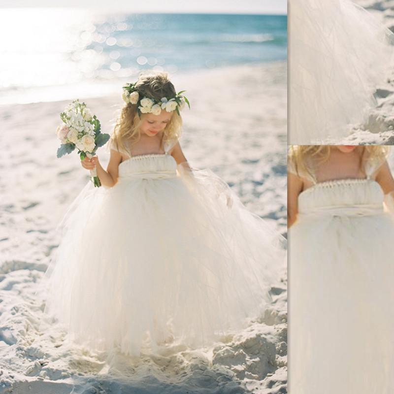2016 Beach Flower Girl Dresses White Tulle Cheap Puffy Ball Gowns