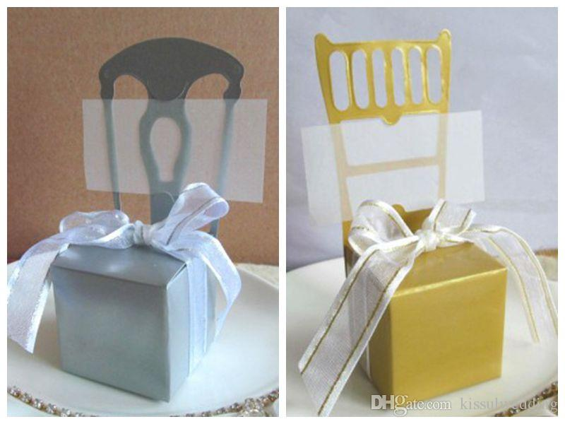 Gold Chair Favor Box With Double Gold Edge Ribbon And Name Cards For