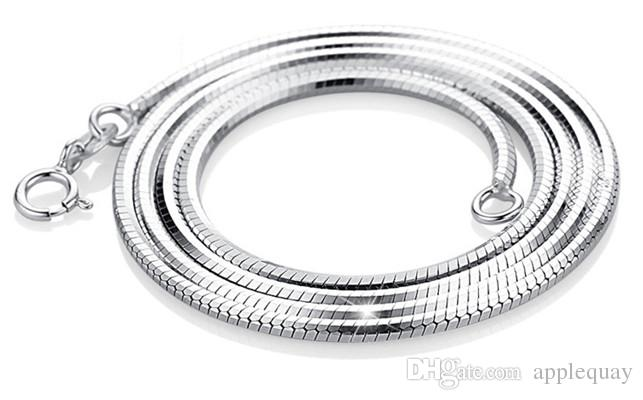 925 silver necklaces diy pendants sterling silver woman jewelry snake chain white gold shiny fashion popular valentines gift 45cm 40cm