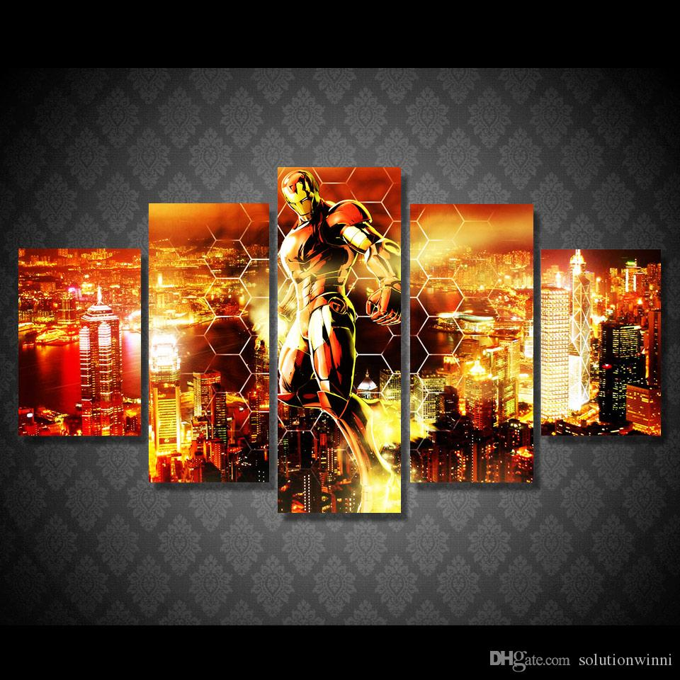 5 panel hd printed iron man flying in the jpg. 2018 5 Panel Hd Printed Iron Man Flying In The Air Painting Canvas