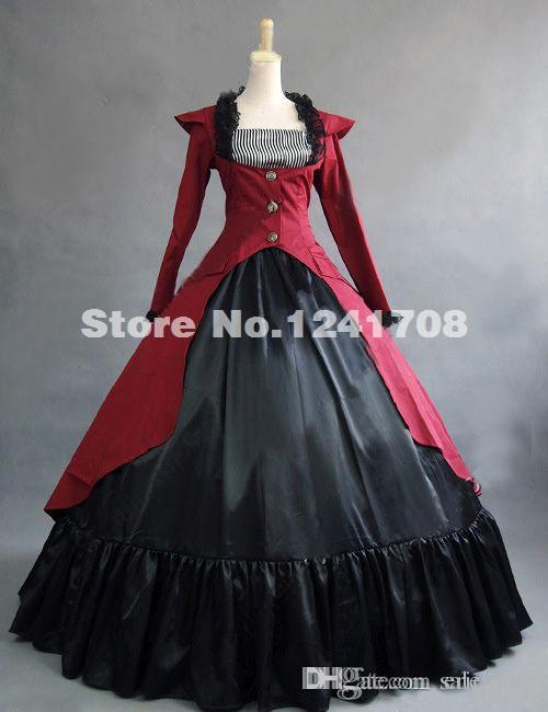 Hot Sale Red Gothic Renaissance Colonial Steampunk Dress Gown ...