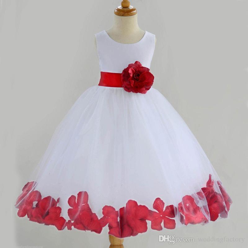 Lovely Two Tone Red And White Flower Girl Dresses Cheap Flower Girls