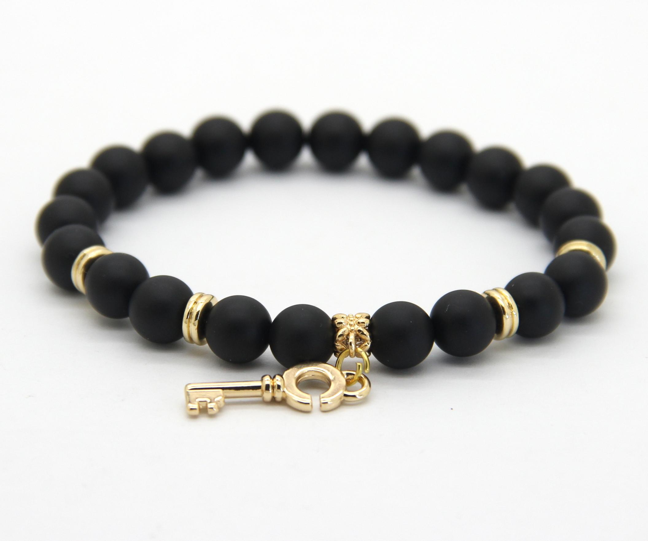 Wholesale 8mm Real Matte Onyx Stone Beads with Key pendant Gold Bracelets,  New Arrival Stone Jewelry for Party Gift