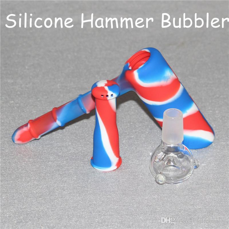 2017 Novo Tipo de Fumar Showerhead Bongo Bolhedores De Silicone Reciclador 18.8mm Bubbler Silicone Hammer Hookahs Unbreakable Com Taça De Vidro DHL