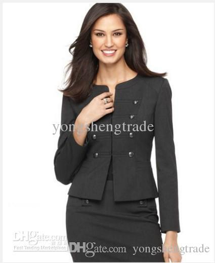 Women's Suit Long Sleeve Military Cadet Jacket & Pencil Skirt Custom Gray Women Suit