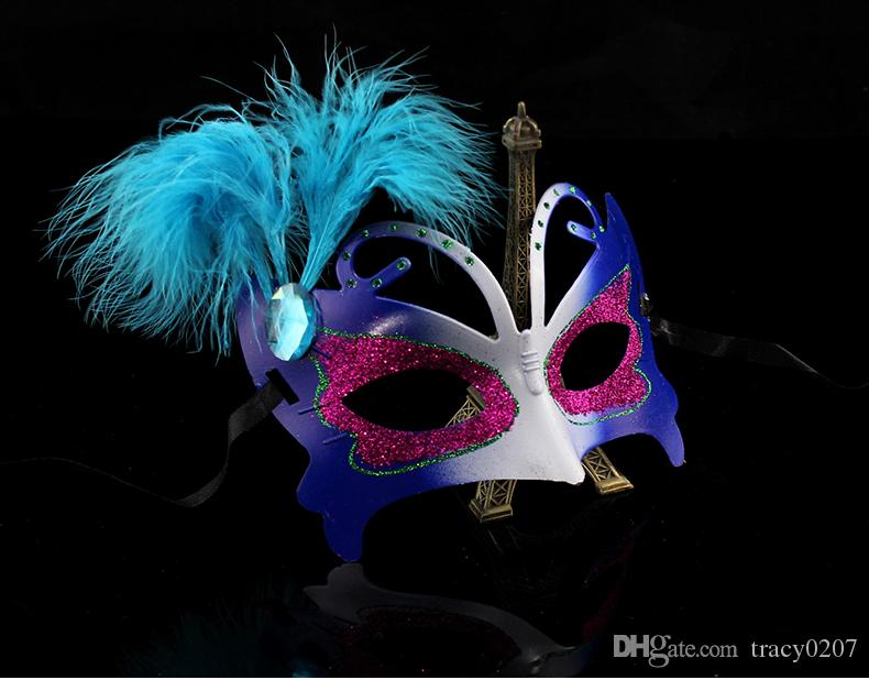 Fashion Women sex mask Hallowmas gift Venetian eye mask with feather mask masquerade masks Easter mask dance party mask drop shipping