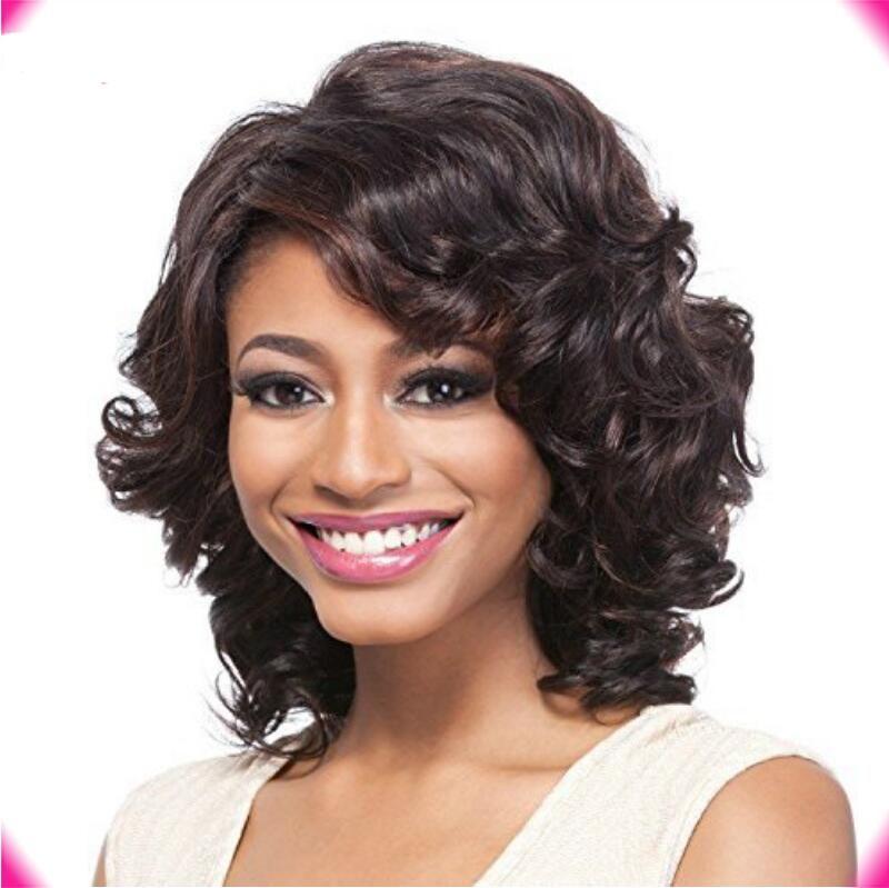 Top quality beleza moda corte curto bob onda completa de simulação de peruca de cabelo humano onda peruca grande estoque