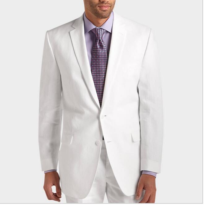 Moda por encargo trajes blancos chaqueta + pantalones de color rosa caliente hombres de negocios trajes de esmoquin delgado esmoquin B11