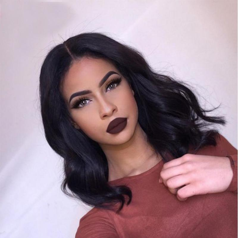 Short Lace Front Wig Natural Wave 8A Full Lace Human Hair Wigs For Black Women 100% Virgin Hair Wigs Baby Hair Bleached Knots