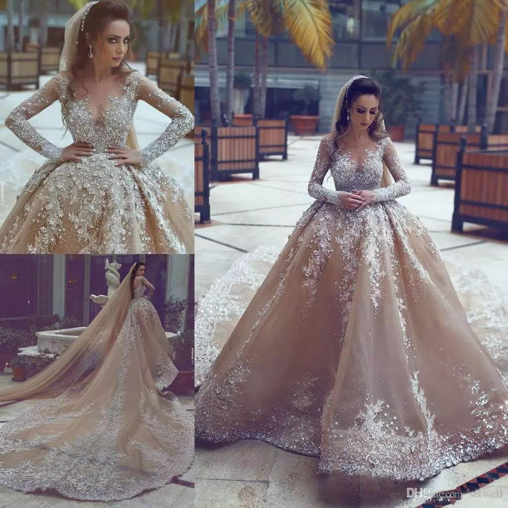 Luxury Mermaid Wedding Dresses Applique Lace Crystal Beading Sequined Wedding Gowns Catchedral Train Sheer Jewel Long Sleeves Bridal Dress